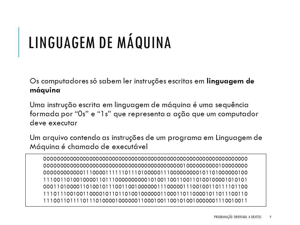 LINGUAGEM DE PROGRAMAÇÃO Escrever um programa em linguagem de máquina é totalmente inviável para uma pessoa As linguagens de programação tentam se aproximar das linguagens humanas Um arquivo contendo as instruções de um programa em linguagem de programação é chamado de arquivo fonte PROGRAMAÇÃO ORIENTADA A OBJETOS10 class OlaMundo { public static void main(String[] args) { System.out.println( Olá Mundo! ); }