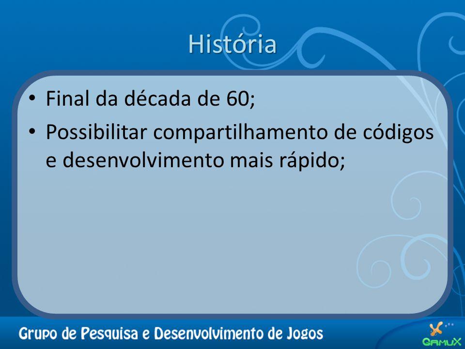 História Final da década de 60; Possibilitar compartilhamento de códigos e desenvolvimento mais rápido; 10