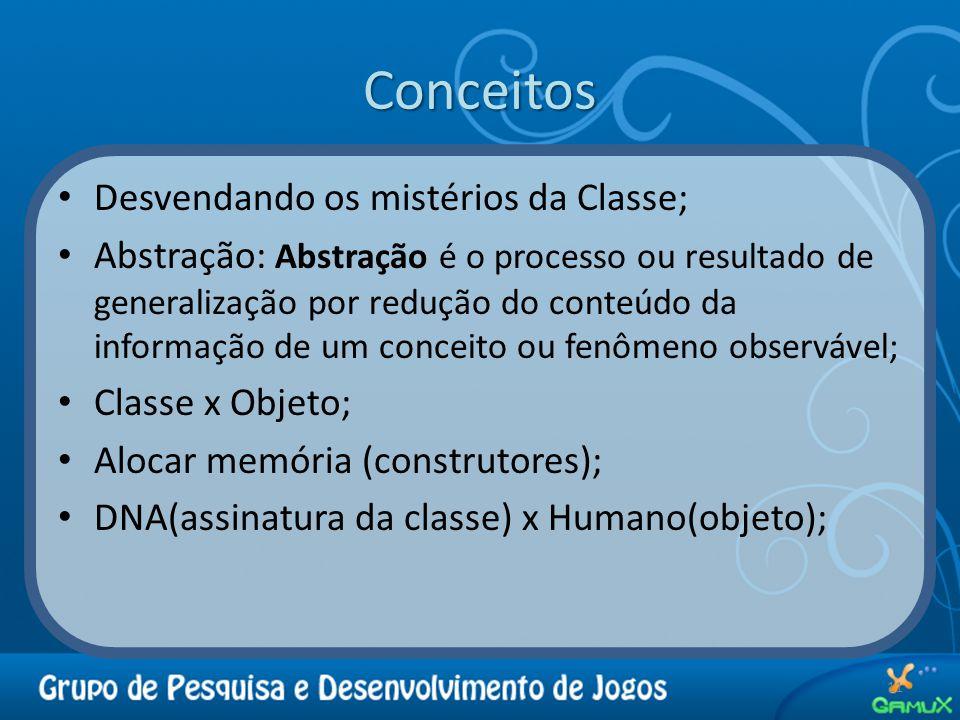 Conceitos Desvendando os mistérios da Classe; Abstração: Abstração é o processo ou resultado de generalização por redução do conteúdo da informação de