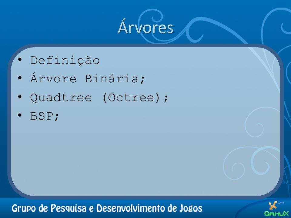 Árvores Definição Árvore Binária; Quadtree (Octree); BSP; 26
