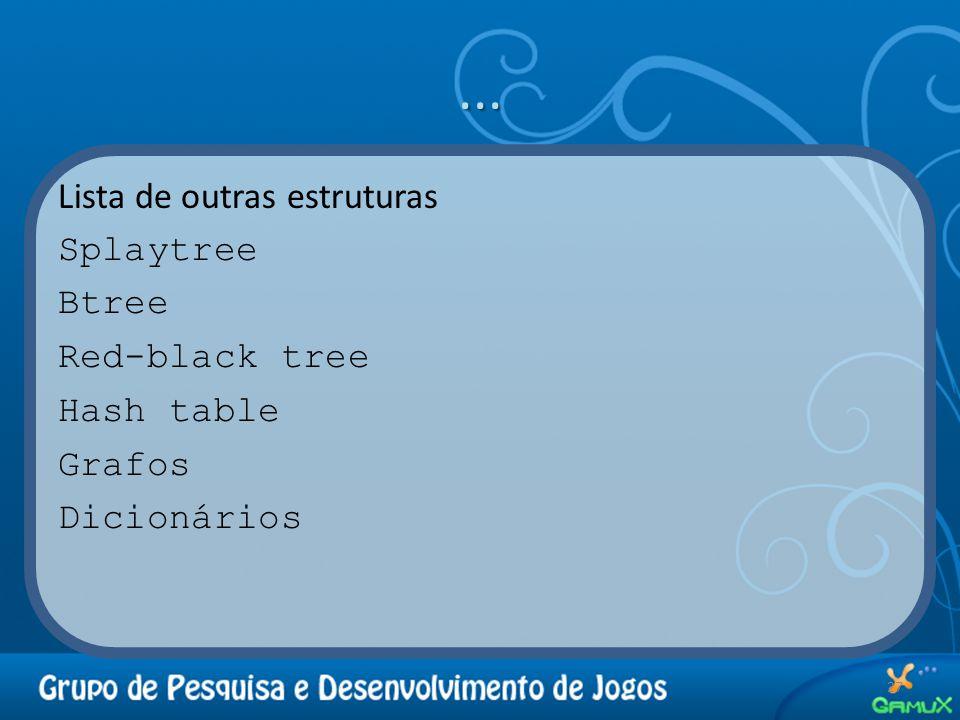 ... Lista de outras estruturas Splaytree Btree Red-black tree Hash table Grafos Dicionários 27