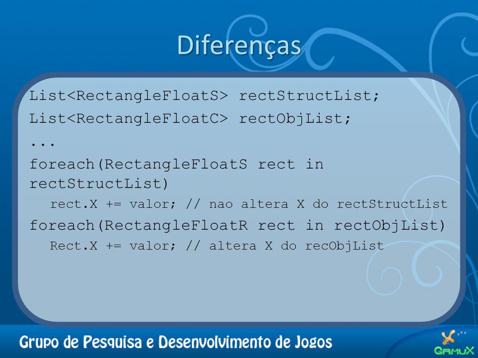 Diferenças List rectStructList; List rectObjList;... foreach(RectangleFloatS rect in rectStructList) rect.X += valor; // nao altera X do rectStructLis