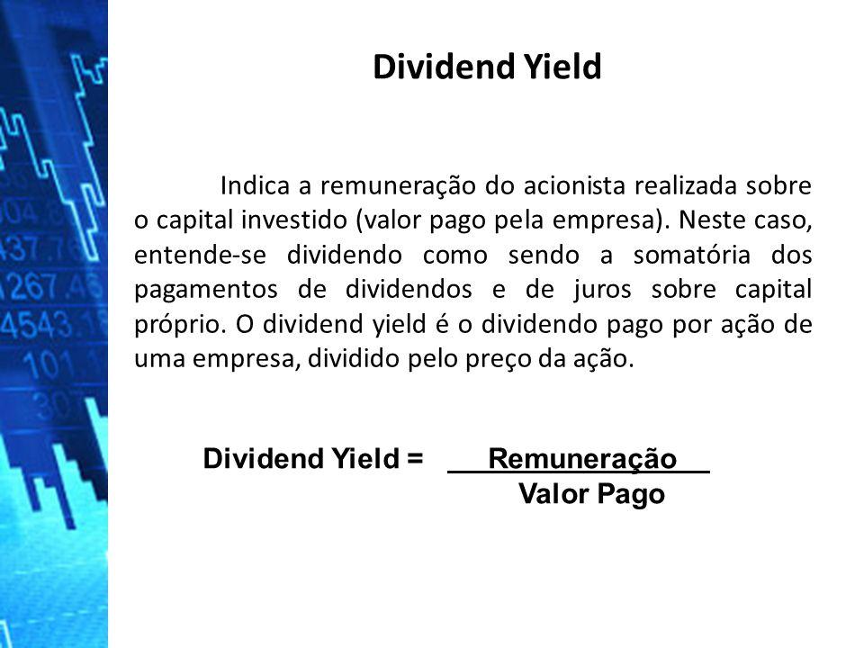 Indica a remuneração do acionista realizada sobre o capital investido (valor pago pela empresa). Neste caso, entende-se dividendo como sendo a somatór