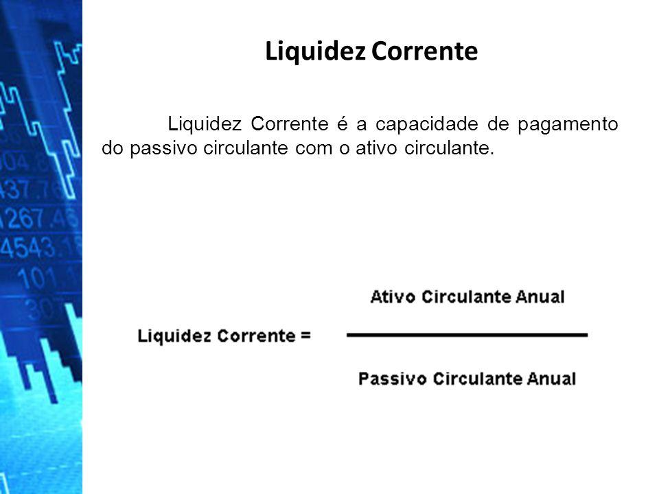 Liquidez Corrente é a capacidade de pagamento do passivo circulante com o ativo circulante. Liquidez Corrente