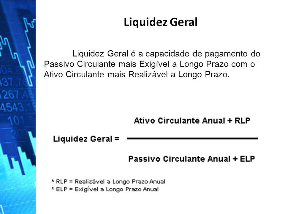 Liquidez Geral é a capacidade de pagamento do Passivo Circulante mais Exigível a Longo Prazo com o Ativo Circulante mais Realizável a Longo Prazo. Liq