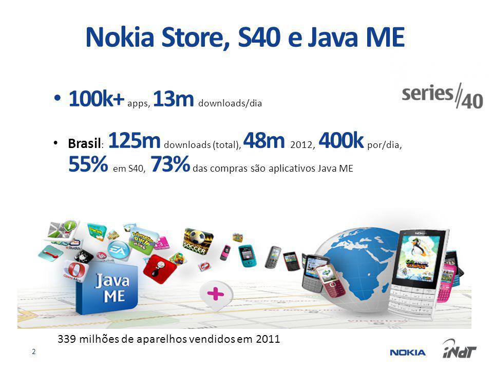 100k+ apps, 13m downloads/dia Brasil : 125m downloads (total), 48m 2012, 400k por/dia, 55% em S40, 73% das compras são aplicativos Java ME 2 Nokia Store, S40 e Java ME 339 milhões de aparelhos vendidos em 2011