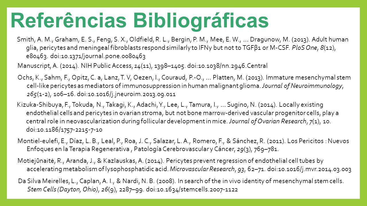 Referências Bibliográficas Smith, A. M., Graham, E. S., Feng, S. X., Oldfield, R. L., Bergin, P. M., Mee, E. W., … Dragunow, M. (2013). Adult human gl