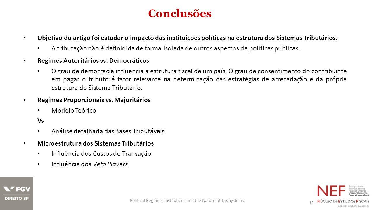 Conclusões Objetivo do artigo foi estudar o impacto das instituições políticas na estrutura dos Sistemas Tributários. A tributação não é definidida de
