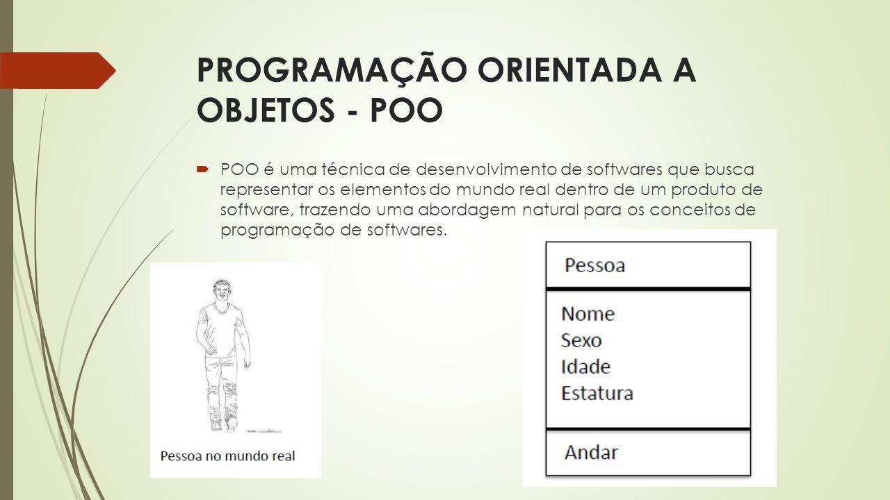PROGRAMAÇÃO ORIENTADA A OBJETOS - POO  POO é uma técnica de desenvolvimento de softwares que busca representar os elementos do mundo real dentro de u