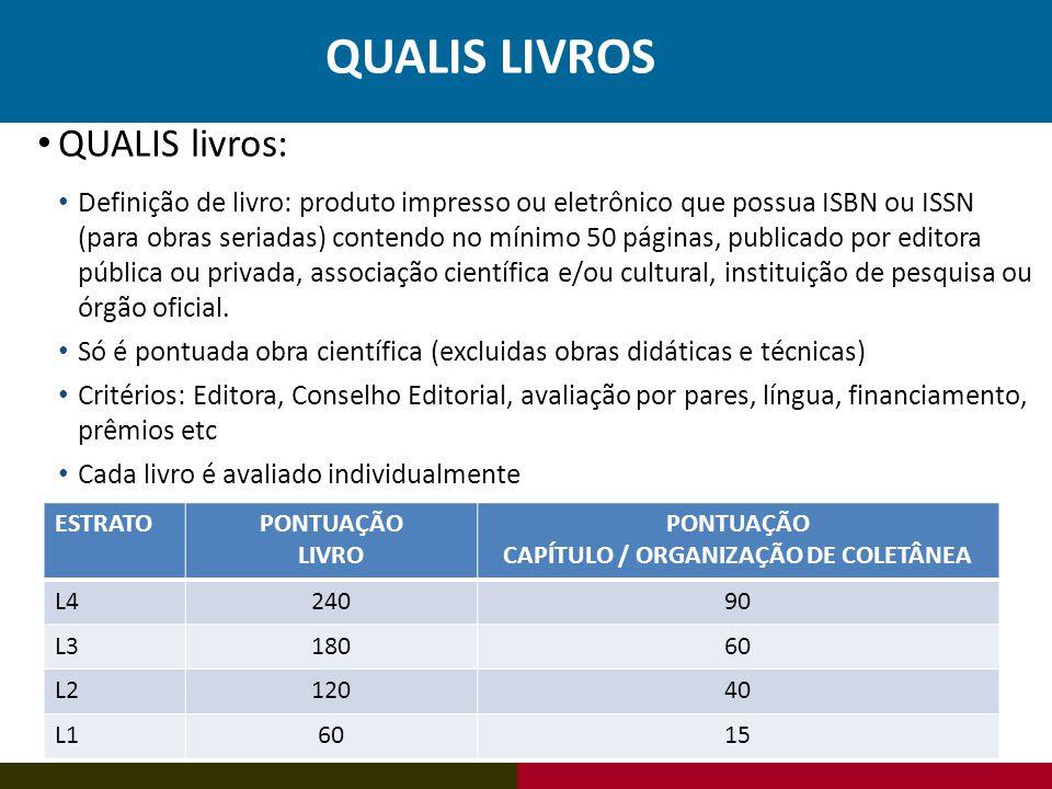 ESTRATOPONTUAÇÃO LIVRO PONTUAÇÃO CAPÍTULO / ORGANIZAÇÃO DE COLETÂNEA L424090 L318060 L212040 L16015 QUALIS livros: Definição de livro: produto impress