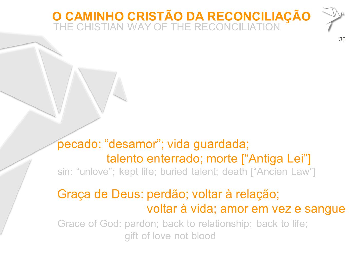 "O CAMINHO CRISTÃO DA RECONCILIAÇÃO THE CHISTIAN WAY OF THE RECONCILIATION 23 pecado: ""desamor""; vida guardada; talento enterrado; morte [""Antiga Lei""]"