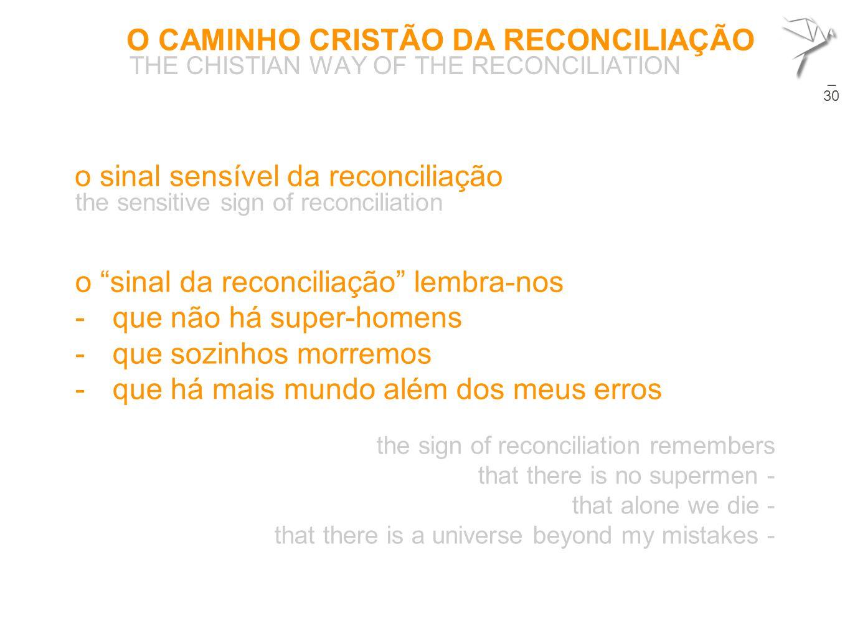 """O CAMINHO CRISTÃO DA RECONCILIAÇÃO THE CHISTIAN WAY OF THE RECONCILIATION 26  o """"sinal da reconciliação"""" lembra-nos -que não há super-homens -que soz"""