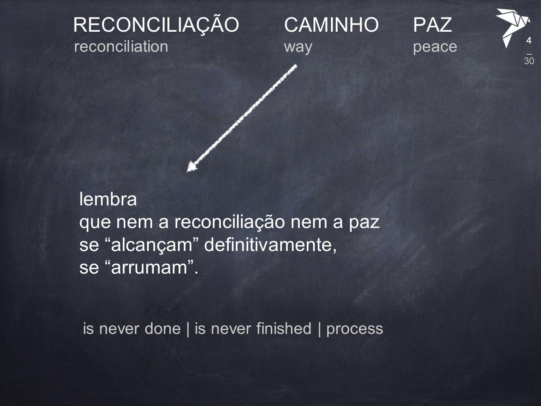 """RECONCILIAÇÃO lembra que nem a reconciliação nem a paz se """"alcançam"""" definitivamente, se """"arrumam"""". CAMINHOPAZ reconciliationwaypeace 4 is never done"""