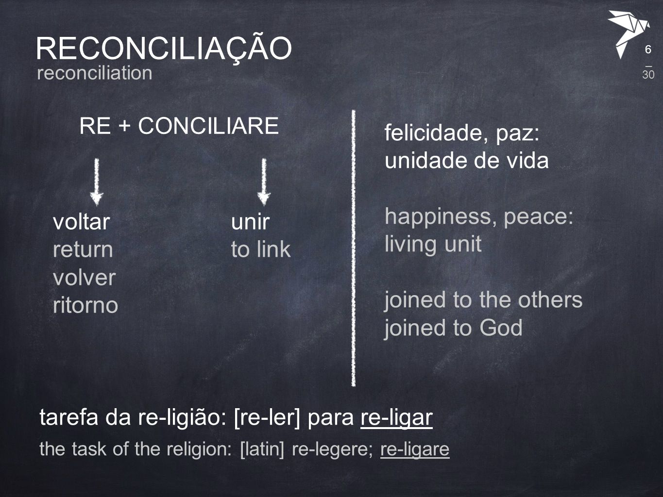 RECONCILIAÇÃO RE + CONCILIARE reconciliation voltar return volver ritorno unir to link felicidade, paz: unidade de vida happiness, peace: living unit