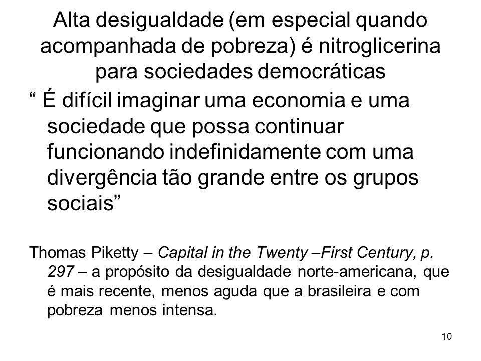 """Alta desigualdade (em especial quando acompanhada de pobreza) é nitroglicerina para sociedades democráticas """" É difícil imaginar uma economia e uma so"""