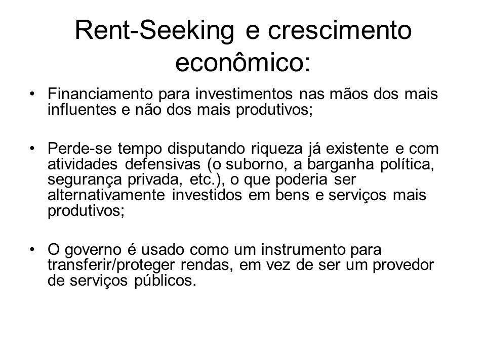 Rent-Seeking e crescimento econômico: Financiamento para investimentos nas mãos dos mais influentes e não dos mais produtivos; Perde-se tempo disputan