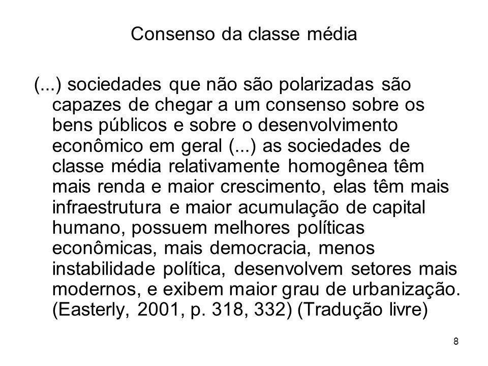 8 Consenso da classe média (...) sociedades que não são polarizadas são capazes de chegar a um consenso sobre os bens públicos e sobre o desenvolvimen