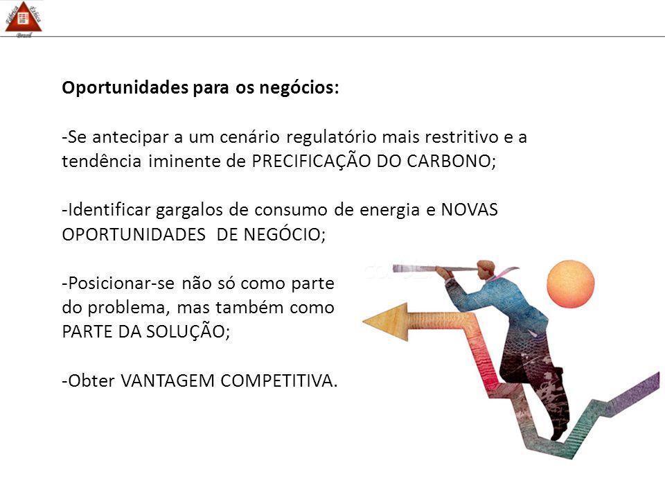 Oportunidades para os negócios: -Se antecipar a um cenário regulatório mais restritivo e a tendência iminente de PRECIFICAÇÃO DO CARBONO; -Identificar gargalos de consumo de energia e NOVAS OPORTUNIDADES DE NEGÓCIO; -Posicionar-se não só como parte do problema, mas também como PARTE DA SOLUÇÃO; -Obter VANTAGEM COMPETITIVA.