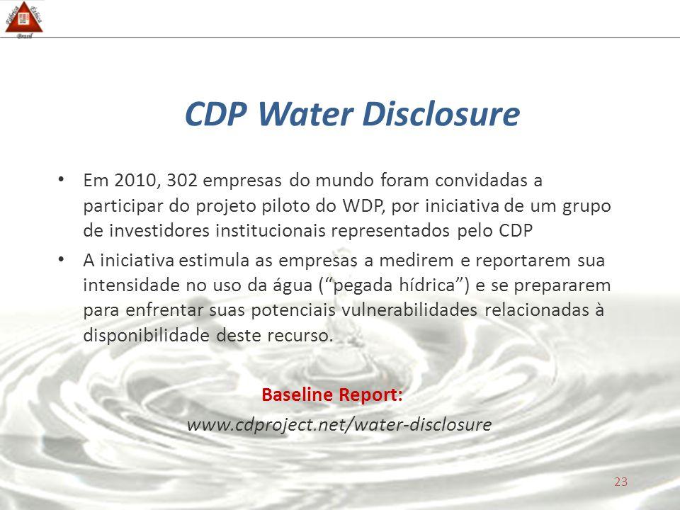 CDP Water Disclosure Em 2010, 302 empresas do mundo foram convidadas a participar do projeto piloto do WDP, por iniciativa de um grupo de investidores institucionais representados pelo CDP A iniciativa estimula as empresas a medirem e reportarem sua intensidade no uso da água ( pegada hídrica ) e se prepararem para enfrentar suas potenciais vulnerabilidades relacionadas à disponibilidade deste recurso.