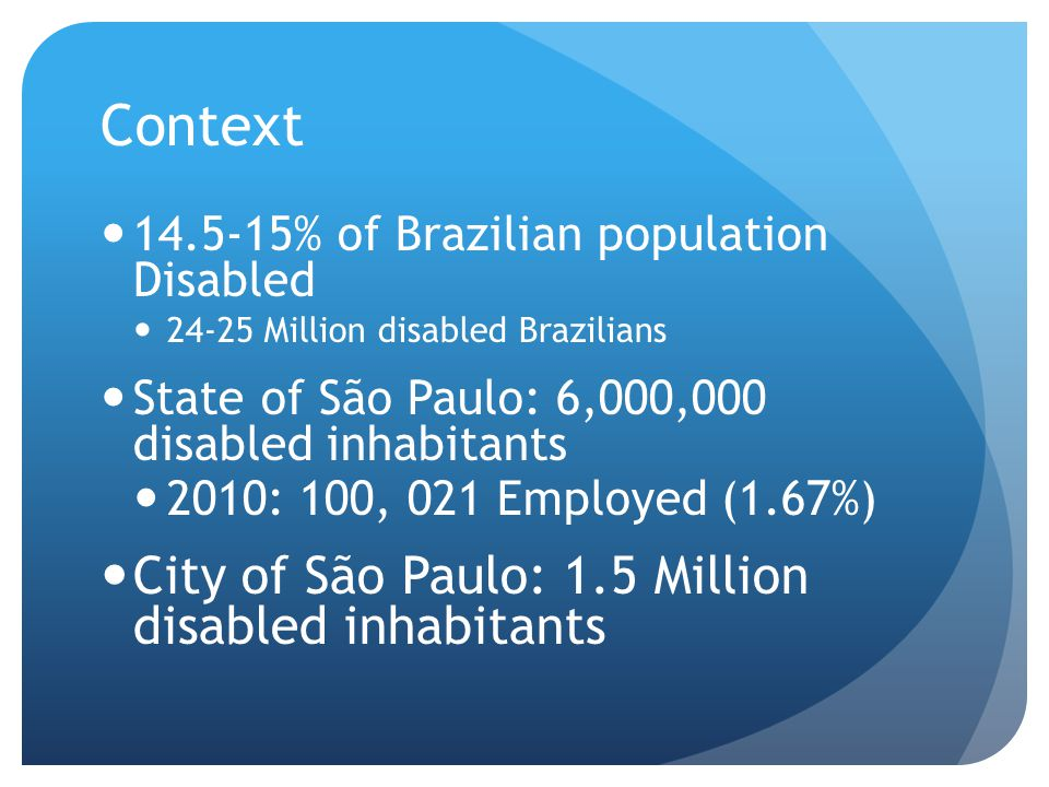 Context 14.5-15% of Brazilian population Disabled 24-25 Million disabled Brazilians State of São Paulo: 6,000,000 disabled inhabitants 2010: 100, 021 Employed (1.67%) City of São Paulo: 1.5 Million disabled inhabitants