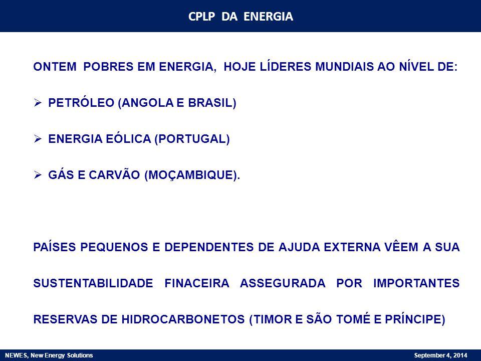 CPLP DA ENERGIA NEWES, New Energy Solutions September 4, 2014 AS RESPOSTAS DOS PAÍSES DA CPLP ÀS MUDANÇAS RESULTAM 1) DAS CARACTERÍSTICAS ESPECÍFICAS DE CADA UM DIMENSÃO, POSIÇÃO GEOGRÁFICA, GRAU DE DESENVOLVIMENTO ECONÓMICO E SOCIAL, SISTEMA POLÍTICO E ADMINISTRATIVO, MATURIDADE INSTITUCIONAL, ENQUADRAMENTO POLÍTICO REGIONAL, ETC.