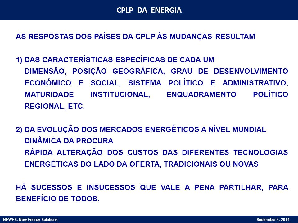 NEWES, New Energy Solutions September 4, 2014