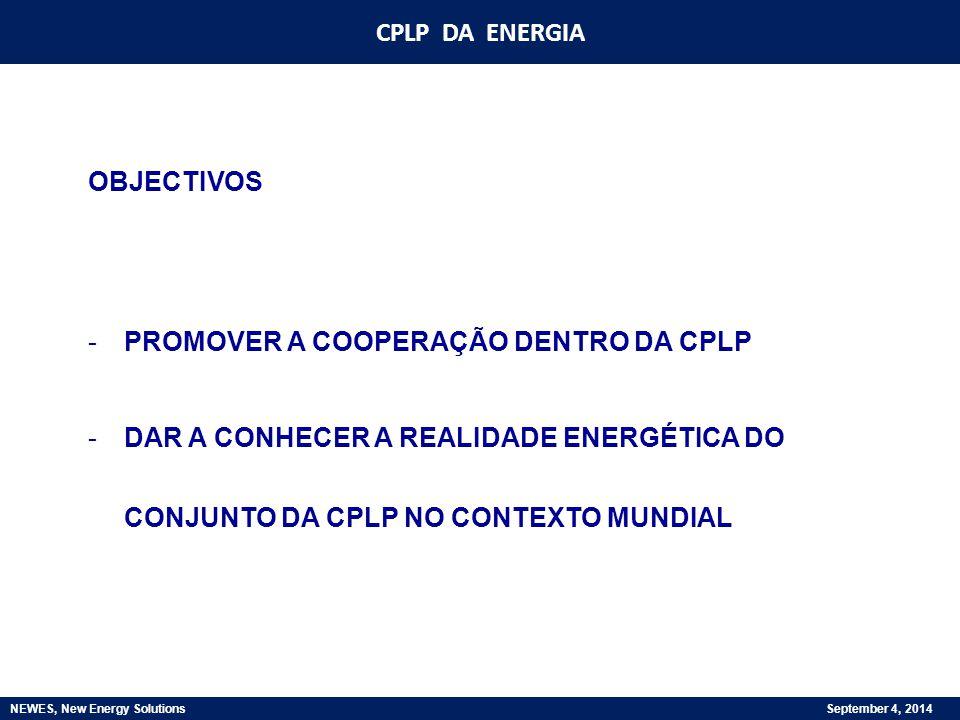 CPLP DA ENERGIA NEWES, New Energy Solutions September 4, 2014 OBJECTIVOS -PROMOVER A COOPERAÇÃO DENTRO DA CPLP -DAR A CONHECER A REALIDADE ENERGÉTICA