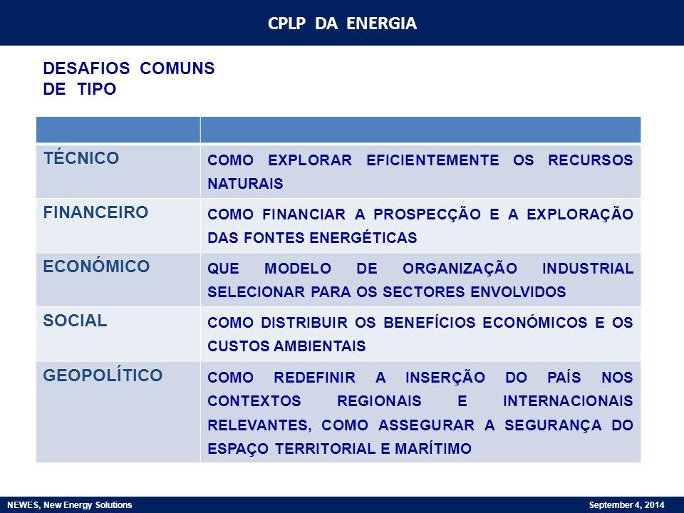CPLP DA ENERGIA NEWES, New Energy Solutions September 4, 2014 TEMAS DE INTERESSE COMUM: -PROMOVER ACESSO A FORMAS MODERNAS DE ENERGIA -SEGURANÇA DE ABASTECIMENTO / FIABILIDADE / QUALIDADE -FORMAÇÃO DE PREÇOS / SUBSÍDIOS -APROVEITAMENTO RECURSOS NATURAIS -ORGANIZAÇÃO INDUSTRIAL -DIMENSÃO AMBIENTAL -INTEGRAÇÃO / INTERACÇÃO COM MERCADOS REGIONAIS -FORMAÇÃO -I&D -…
