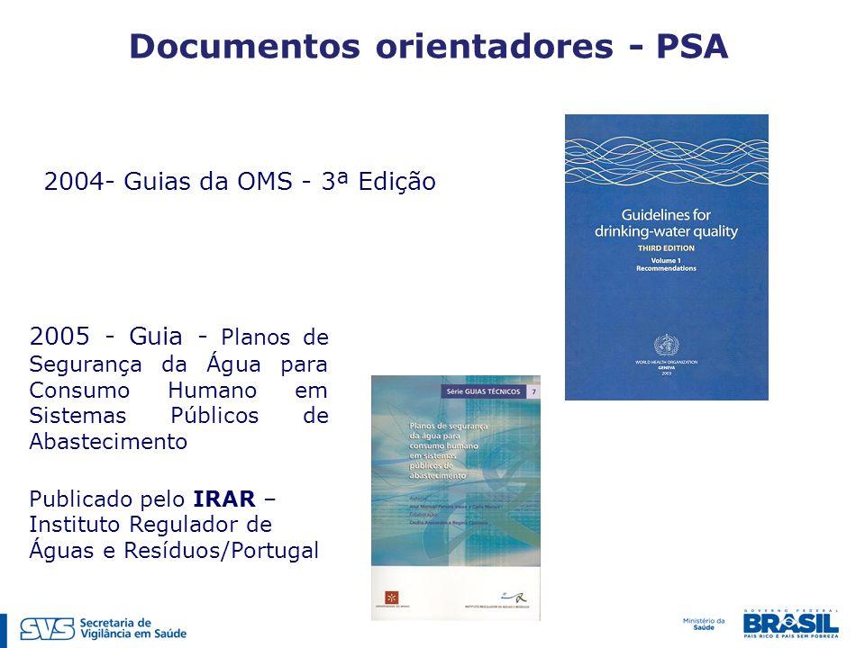 Documentos orientadores - PSA 2004- Guias da OMS - 3ª Edição 2005 - Guia - Planos de Segurança da Água para Consumo Humano em Sistemas Públicos de Abastecimento Publicado pelo IRAR – Instituto Regulador de Águas e Resíduos/Portugal