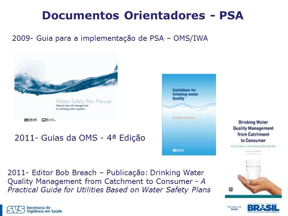 2011- Guias da OMS - 4ª Edição 2011- Editor Bob Breach – Publicação: Drinking Water Quality Management from Catchment to Consumer - A Practical Guide for Utilities Based on Water Safety Plans 2009- Guia para a implementação de PSA – OMS/IWA Documentos Orientadores - PSA