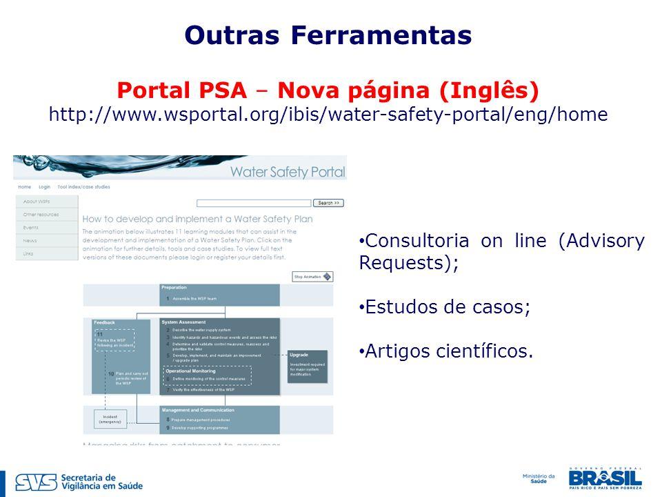 Outras Ferramentas Portal PSA – Nova página (Inglês) http://www.wsportal.org/ibis/water-safety-portal/eng/home Consultoria on line (Advisory Requests)