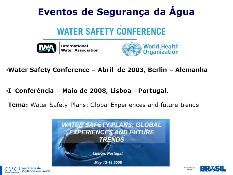 Water Safety Conference – Abril de 2003, Berlin – Alemanha I Conferência – Maio de 2008, Lisboa - Portugal. Tema: Water Safety Plans: Global Experienc