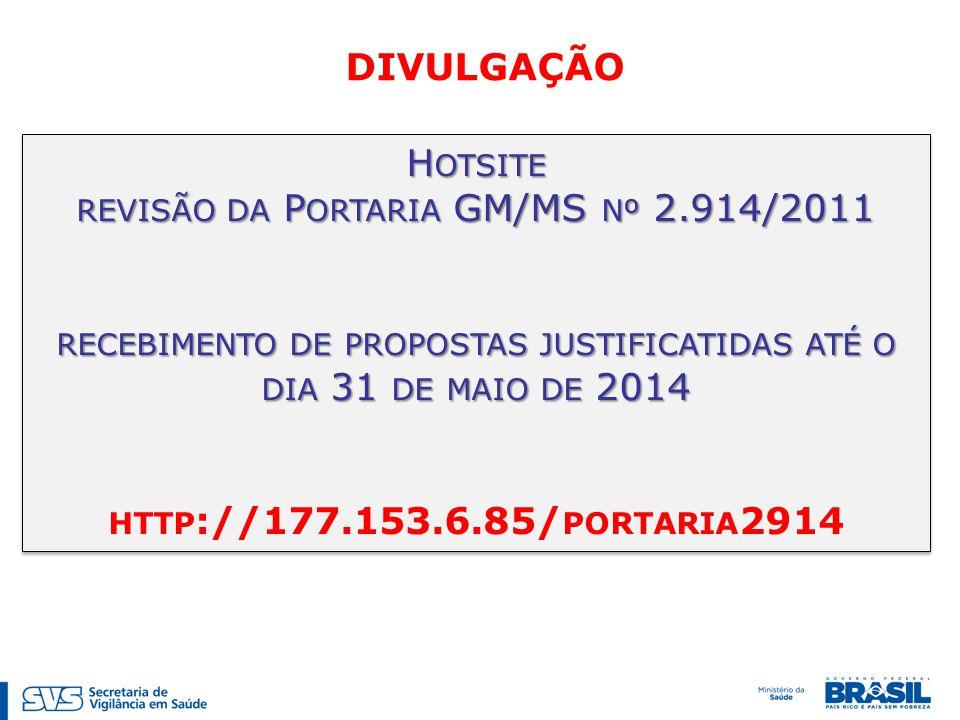 H OTSITE REVISÃO DA P ORTARIA GM/MS Nº 2.914/2011 RECEBIMENTO DE PROPOSTAS JUSTIFICATIDAS ATÉ O DIA 31 DE MAIO DE 2014 HTTP ://177.153.6.85/ PORTARIA 2914 H OTSITE REVISÃO DA P ORTARIA GM/MS Nº 2.914/2011 RECEBIMENTO DE PROPOSTAS JUSTIFICATIDAS ATÉ O DIA 31 DE MAIO DE 2014 HTTP ://177.153.6.85/ PORTARIA 2914 DIVULGAÇÃO
