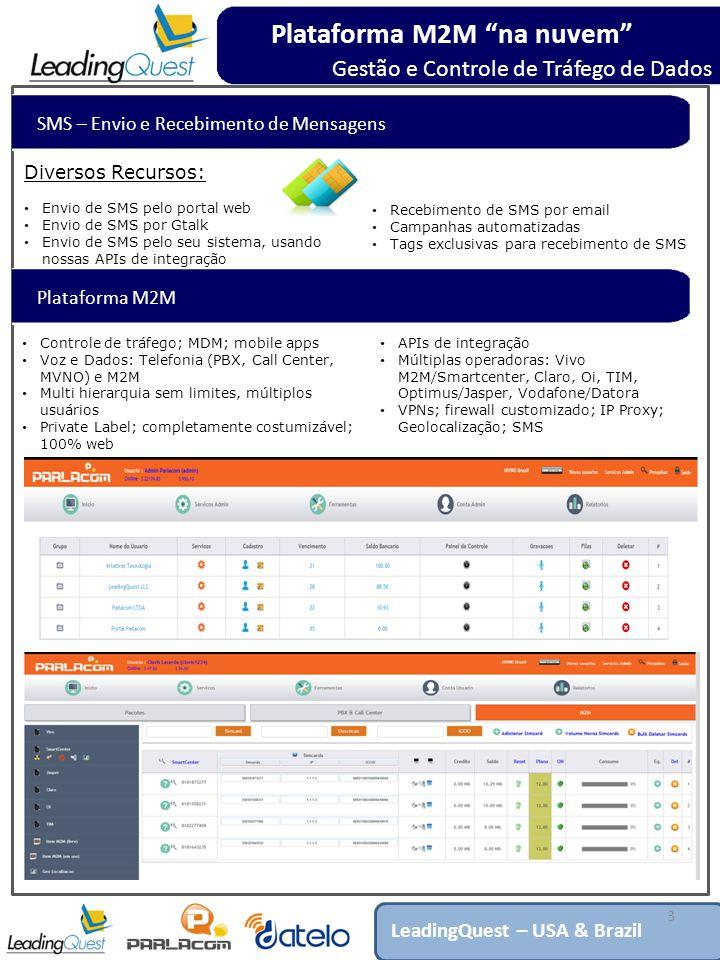 SMS – Envio e Recebimento de Mensagens 3 Diversos Recursos: Envio de SMS pelo portal web Envio de SMS por Gtalk Envio de SMS pelo seu sistema, usando nossas APIs de integração Plataforma M2M na nuvem Gestão e Controle de Tráfego de Dados LeadingQuest – USA & Brazil Recebimento de SMS por email Campanhas automatizadas Tags exclusivas para recebimento de SMS Plataforma M2M Controle de tráfego; MDM; mobile apps Voz e Dados: Telefonia (PBX, Call Center, MVNO) e M2M Multi hierarquia sem limites, múltiplos usuários Private Label; completamente costumizável; 100% web APIs de integração Múltiplas operadoras: Vivo M2M/Smartcenter, Claro, Oi, TIM, Optimus/Jasper, Vodafone/Datora VPNs; firewall customizado; IP Proxy; Geolocalização; SMS