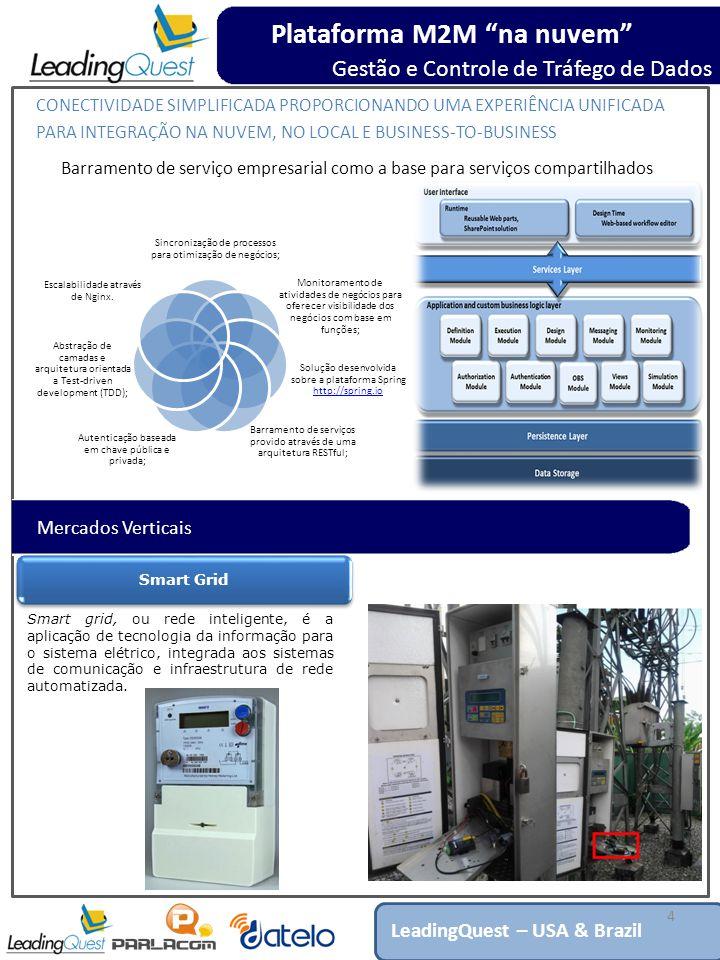 4 Plataforma M2M na nuvem Gestão e Controle de Tráfego de Dados LeadingQuest – USA & Brazil CONECTIVIDADE SIMPLIFICADA PROPORCIONANDO UMA EXPERIÊNCIA UNIFICADA PARA INTEGRAÇÃO NA NUVEM, NO LOCAL E BUSINESS-TO-BUSINESS Barramento de serviço empresarial como a base para serviços compartilhados Sincronização de processos para otimização de negócios; Monitoramento de atividades de negócios para oferecer visibilidade dos negócios com base em funções; Solução desenvolvida sobre a plataforma Spring http://spring.io http://spring.io Barramento de serviços provido através de uma arquitetura RESTful; Autenticação baseada em chave pública e privada; Abstração de camadas e arquitetura orientada a Test-driven development (TDD); Escalabilidade através de Nginx.