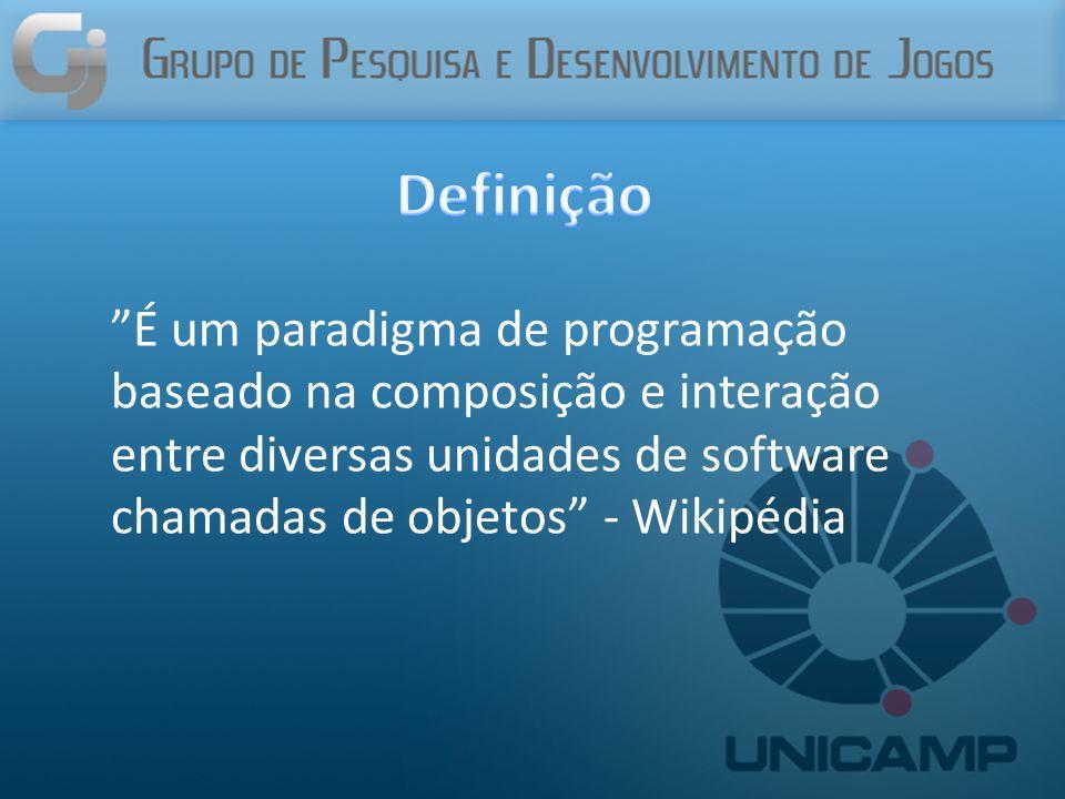 É um paradigma de programação baseado na composição e interação entre diversas unidades de software chamadas de objetos - Wikipédia
