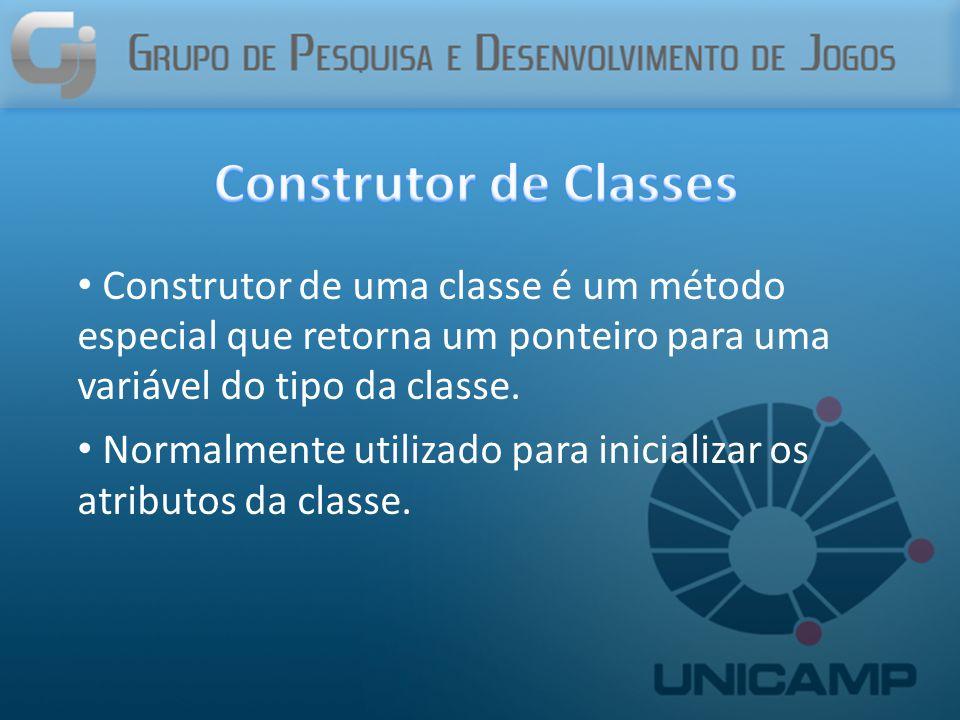 Construtor de uma classe é um método especial que retorna um ponteiro para uma variável do tipo da classe.
