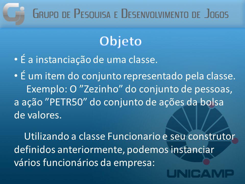 É a instanciação de uma classe. É um item do conjunto representado pela classe.