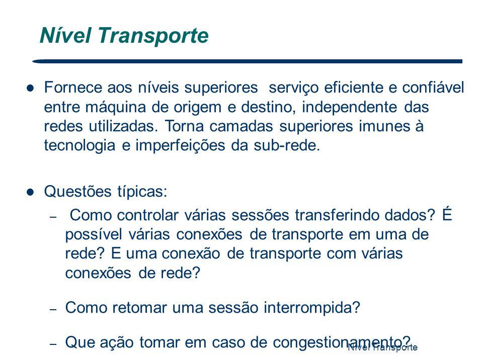 Nível Transporte 1 Fornece aos níveis superiores serviço eficiente e confiável entre máquina de origem e destino, independente das redes utilizadas. T