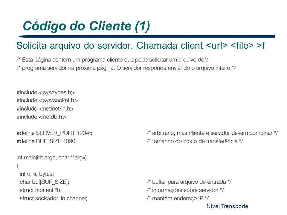 Nível Transporte 14 Solicita arquivo do servidor. Chamada client >f Código do Cliente (1)