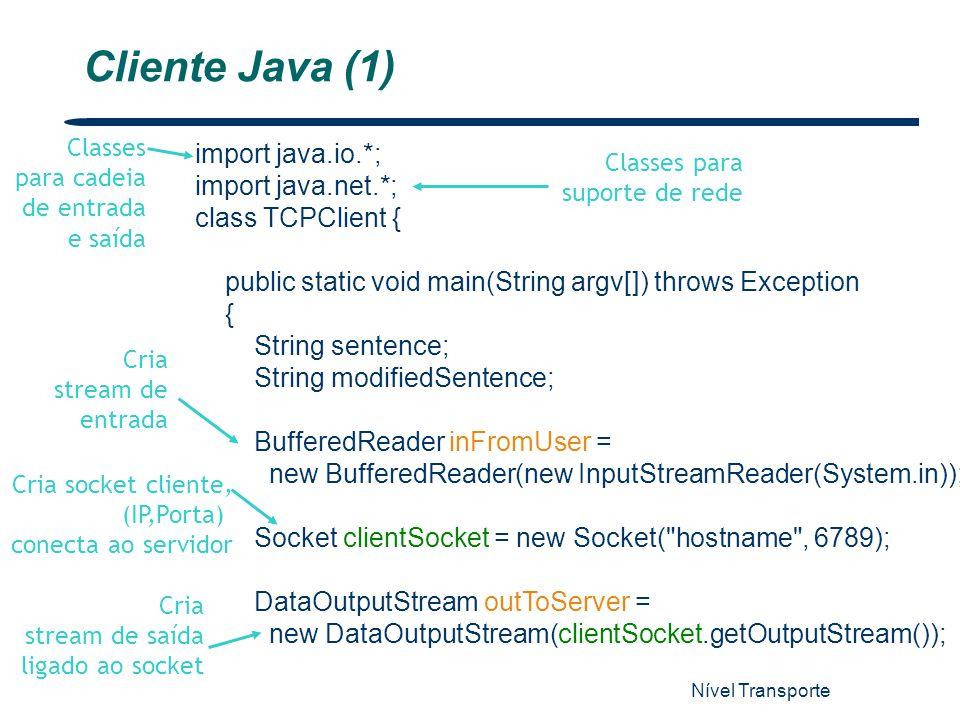 Nível Transporte 22 import java.io.*; import java.net.*; class TCPClient { public static void main(String argv[]) throws Exception { String sentence;