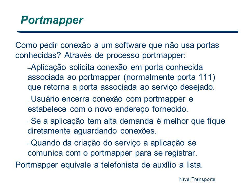 Nível Transporte 26 Portmapper Como pedir conexão a um software que não usa portas conhecidas? Através de processo portmapper: – Aplicação solicita co
