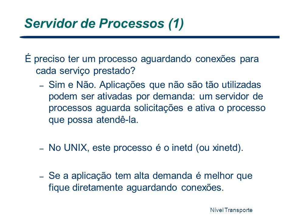 Nível Transporte 27 Servidor de Processos (1) É preciso ter um processo aguardando conexões para cada serviço prestado? – Sim e Não. Aplicações que nã