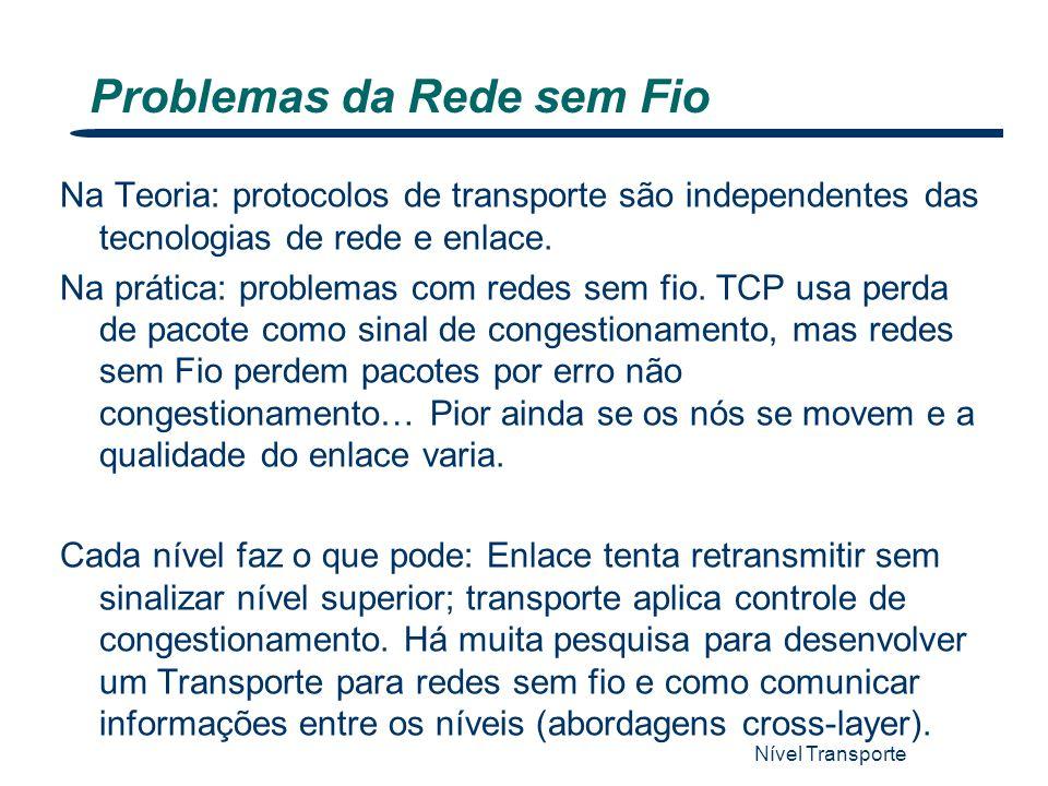 Problemas da Rede sem Fio Nível Transporte 41 Na Teoria: protocolos de transporte são independentes das tecnologias de rede e enlace. Na prática: prob