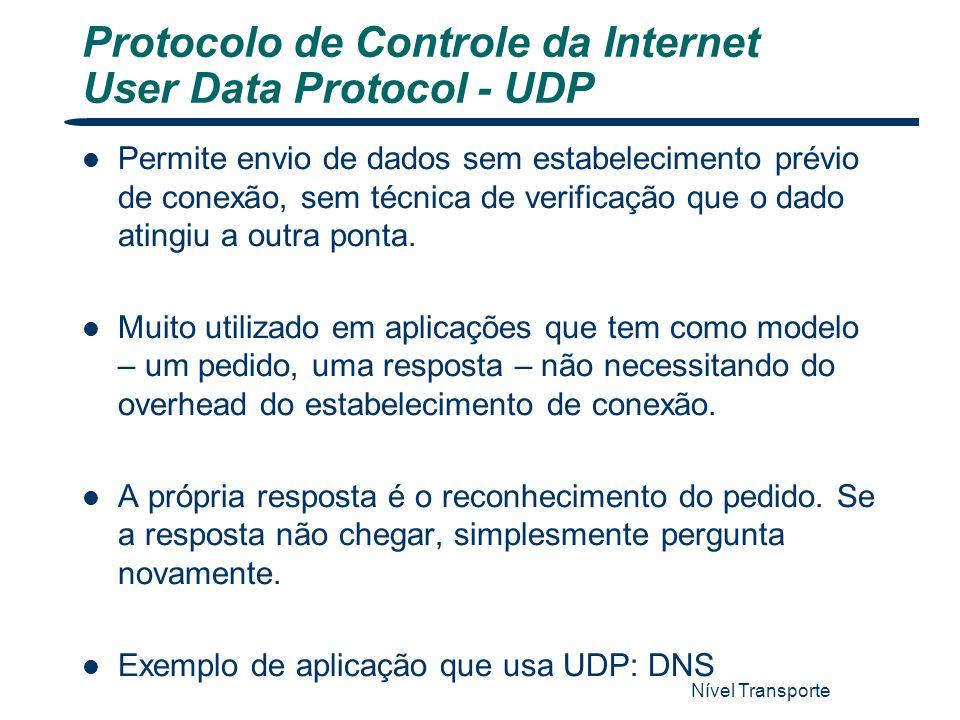 Protocolo de Controle da Internet User Data Protocol - UDP Nível Transporte 42 Permite envio de dados sem estabelecimento prévio de conexão, sem técni
