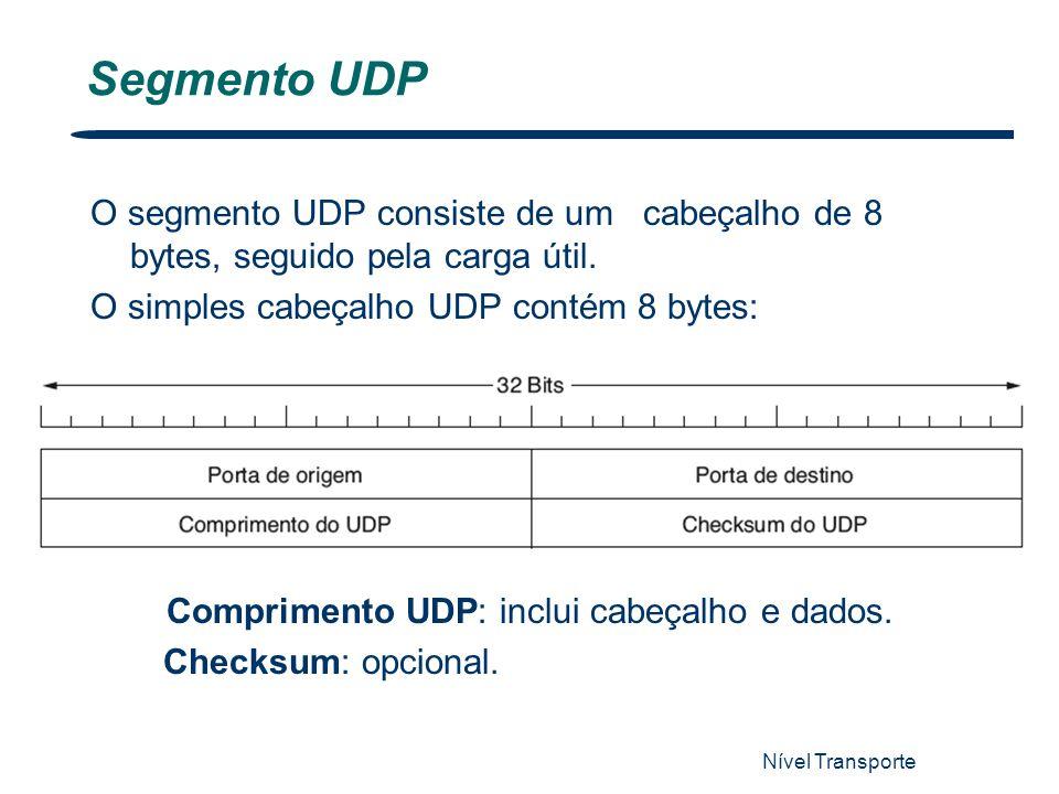 Nível Transporte 43 Segmento UDP O segmento UDP consiste de um cabeçalho de 8 bytes, seguido pela carga útil. O simples cabeçalho UDP contém 8 bytes: