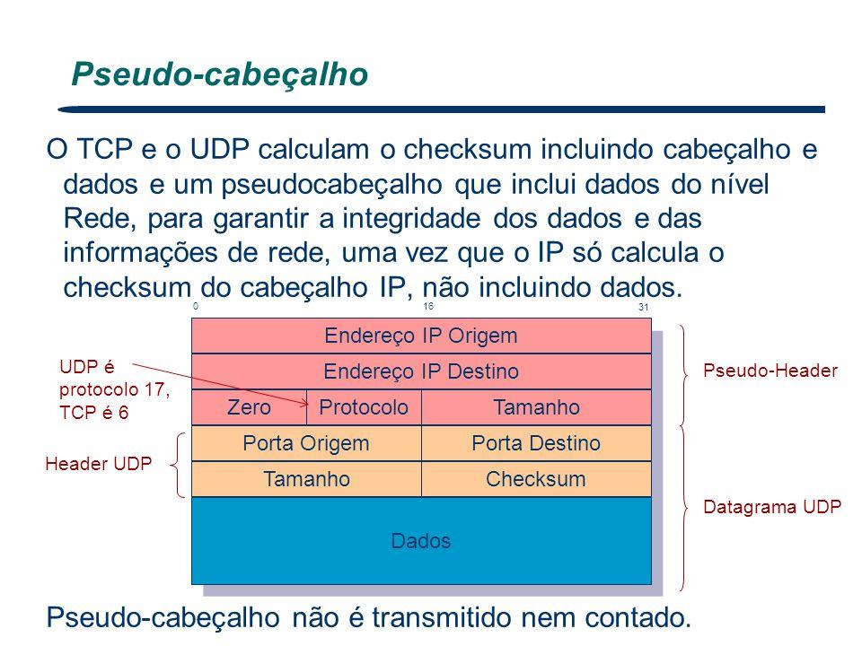 O TCP e o UDP calculam o checksum incluindo cabeçalho e dados e um pseudocabeçalho que inclui dados do nível Rede, para garantir a integridade dos dad
