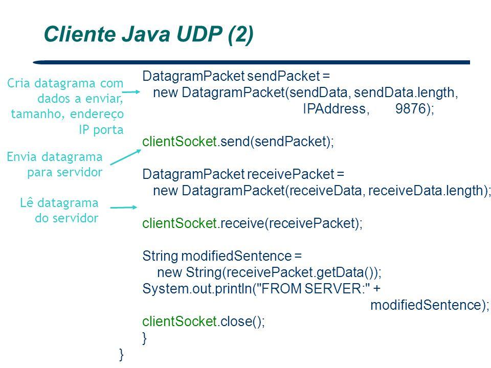 DatagramPacket sendPacket = new DatagramPacket(sendData, sendData.length, IPAddress, 9876); clientSocket.send(sendPacket); DatagramPacket receivePacke
