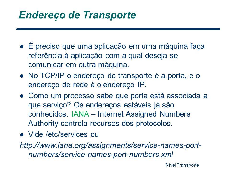 Nível Transporte 5 Endereço de Transporte É preciso que uma aplicação em uma máquina faça referência à aplicação com a qual deseja se comunicar em out