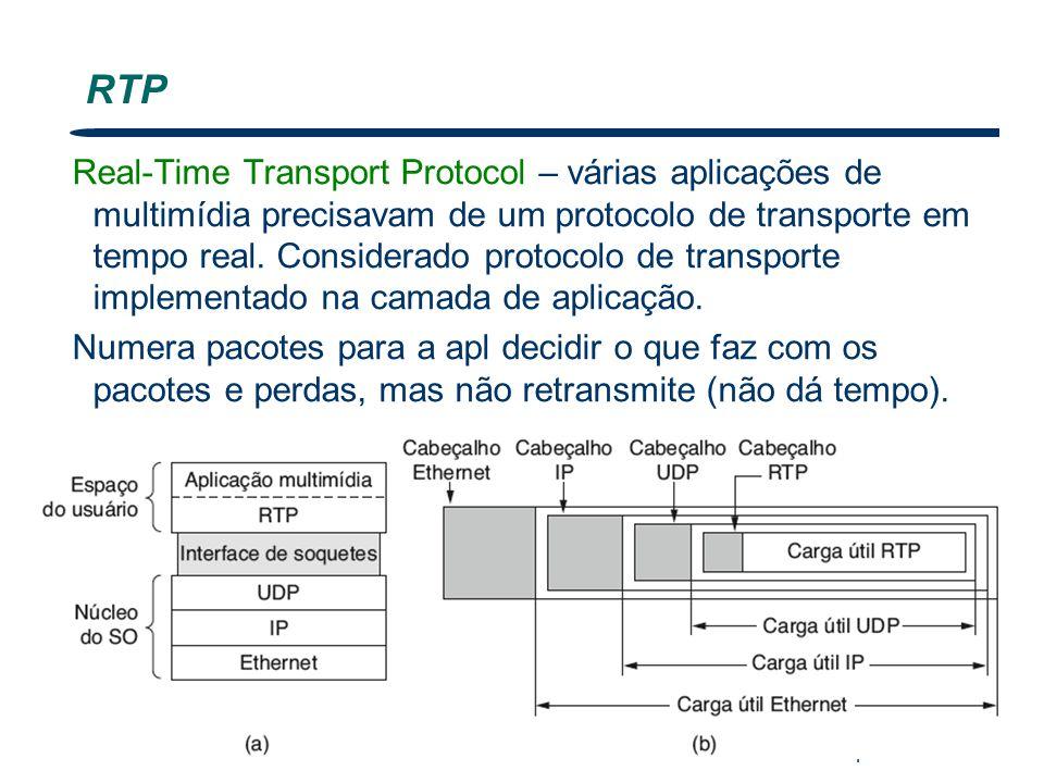 Nível Transporte 50 RTP Real-Time Transport Protocol – várias aplicações de multimídia precisavam de um protocolo de transporte em tempo real. Conside